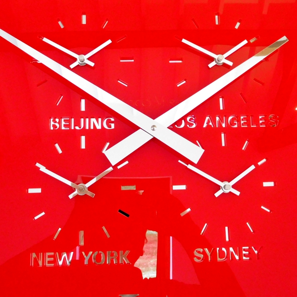 four dial Gloss red Round Retro Roman Timezone Wall Clock