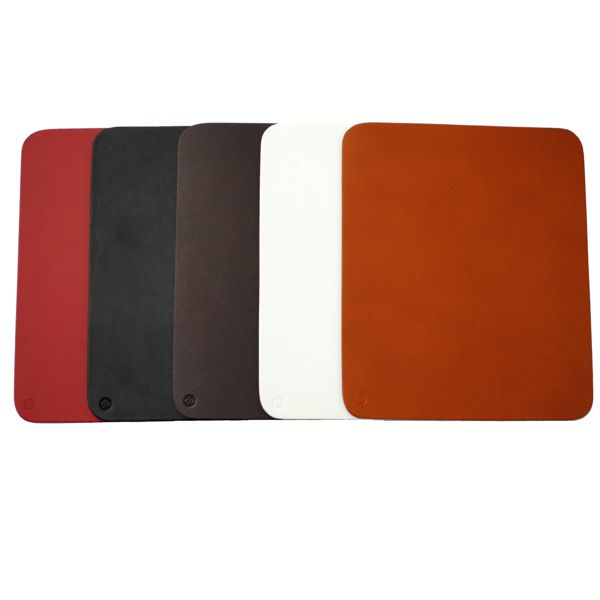 Real Leather mouse-mats red white black tan brown squares