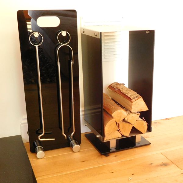black glass and brushed steel contemporary log holder and fireside companion set