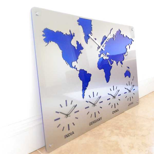 time zone map clock close up