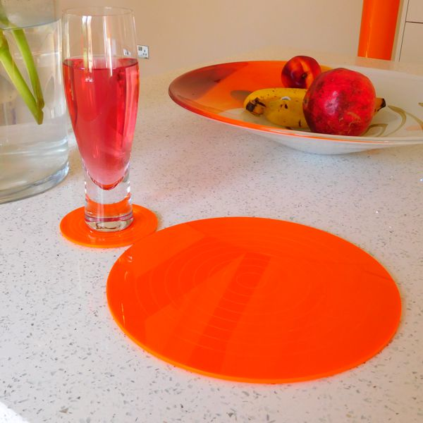 orange gloss round acrylic coaster and placemat