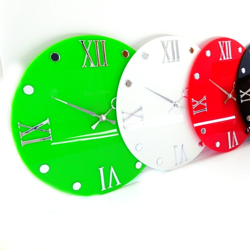 gloss white, red, black Roco Verre Round Retro Roman Gloss Wall Clock