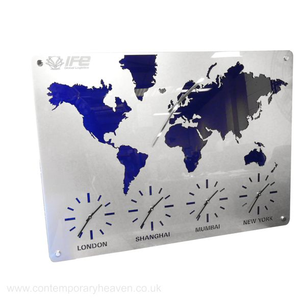 Roco Verre Map Atlas Time zone World Wall Clock | UK