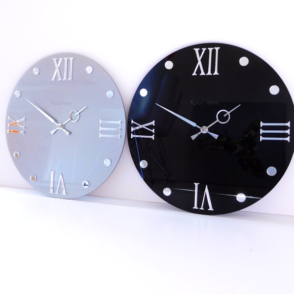 black and silver Roco Verre Round Retro Roman Gloss Wall Clock