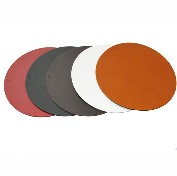 round leather coasters tan black red white brown