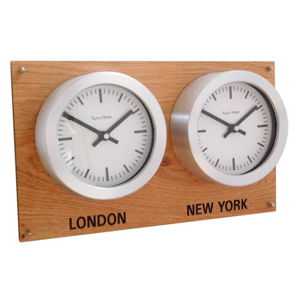 Close Up Oak Backboard Everyday Multi Timezone Wall Clock