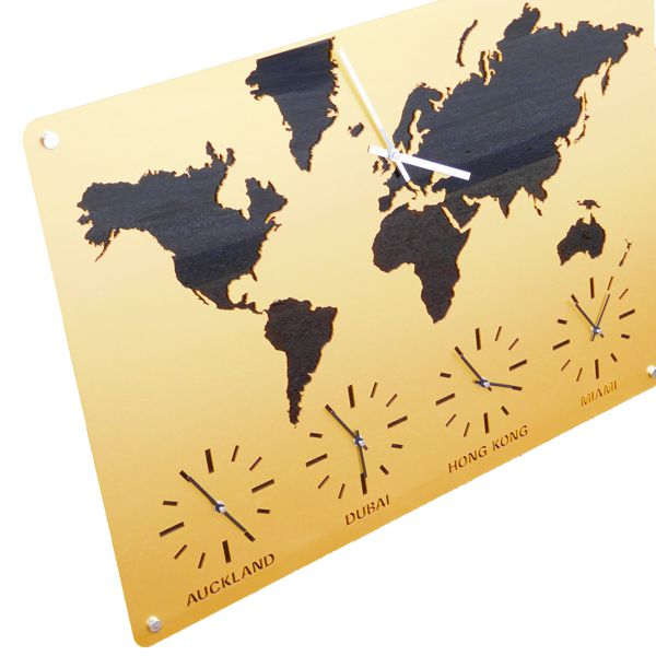 Gold time zone clock map