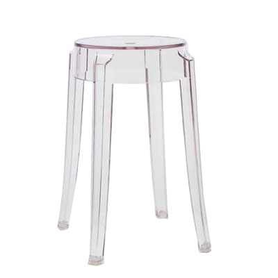 Kartell Charles Ghost Small Stool H46cm x 39cm Diameter Crystal