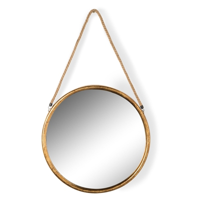 Large Round Gold Metal Mirror on Hanging Rope H58 xW58 x D2.8 cm