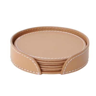 Leather Round Coaster Sets of Six TAN 10cm 4 Dia