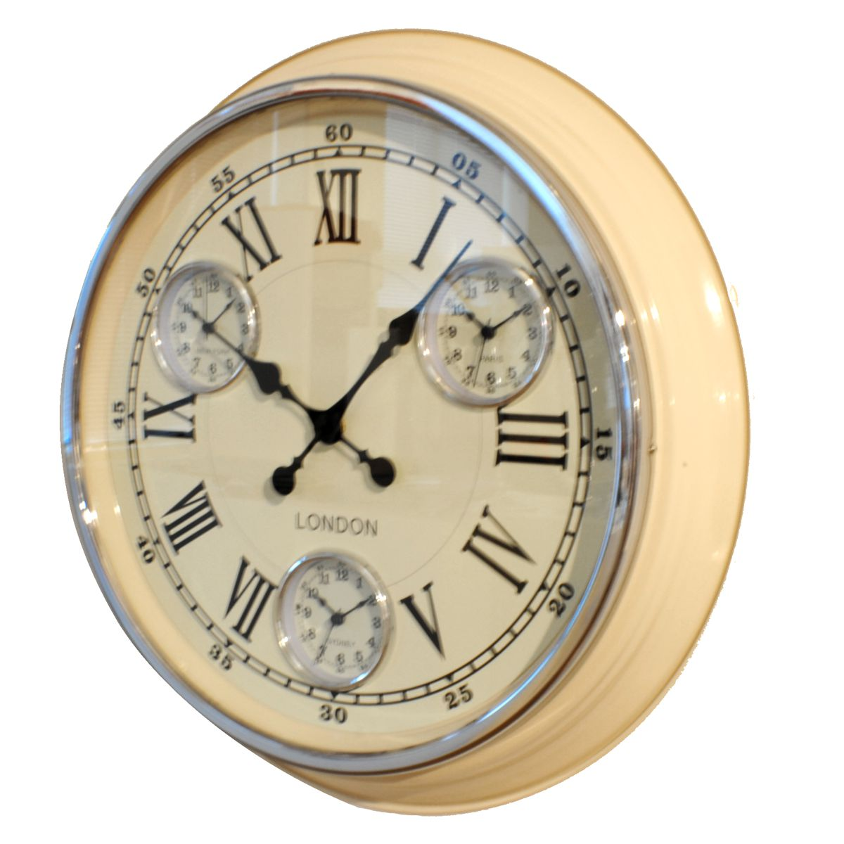 Cream Retro Vintage Timezone Kitchen Wall Clock Uk