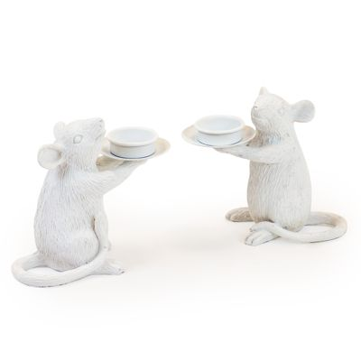 Mouse Candle Holders Set of 2 White H15 x W16.5 x D8 cm