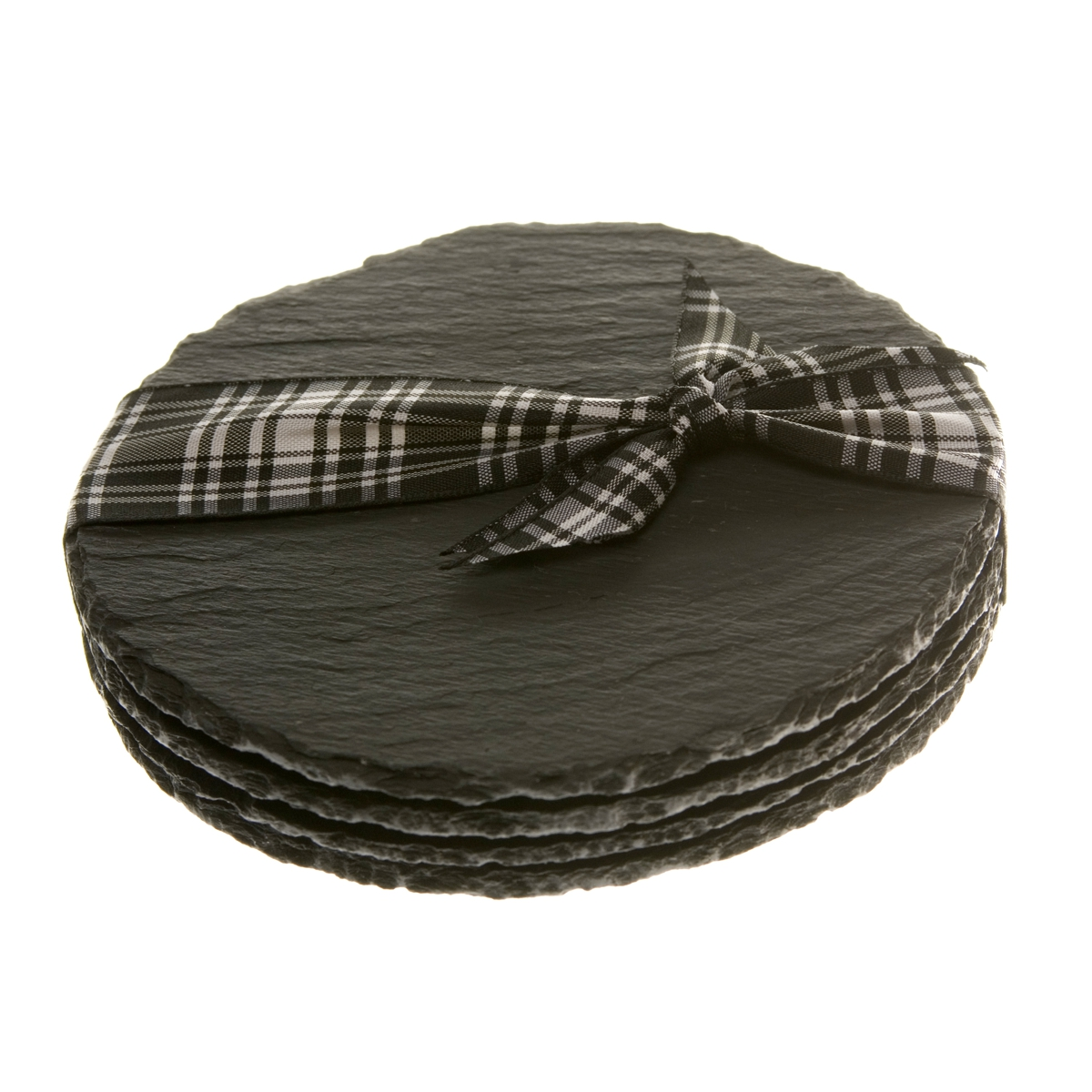 Natural Hand Cut Round Slate Coasters 11cm Diameter Set of 4 + Giftbox
