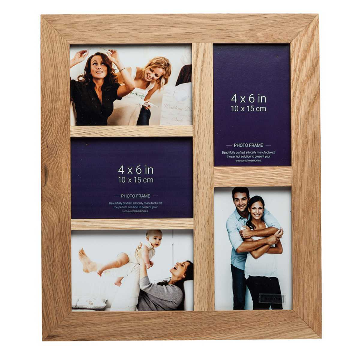 New England Solid Oak 5 Aperture Photo Frame 5 x Photo Size 10cm x 15cm (4x6)