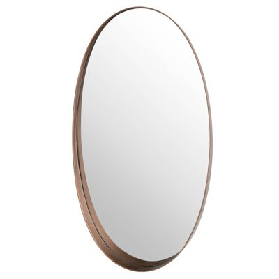 Oval Mirror With Protruding Edge Copper H93 x W50 x D10 cm