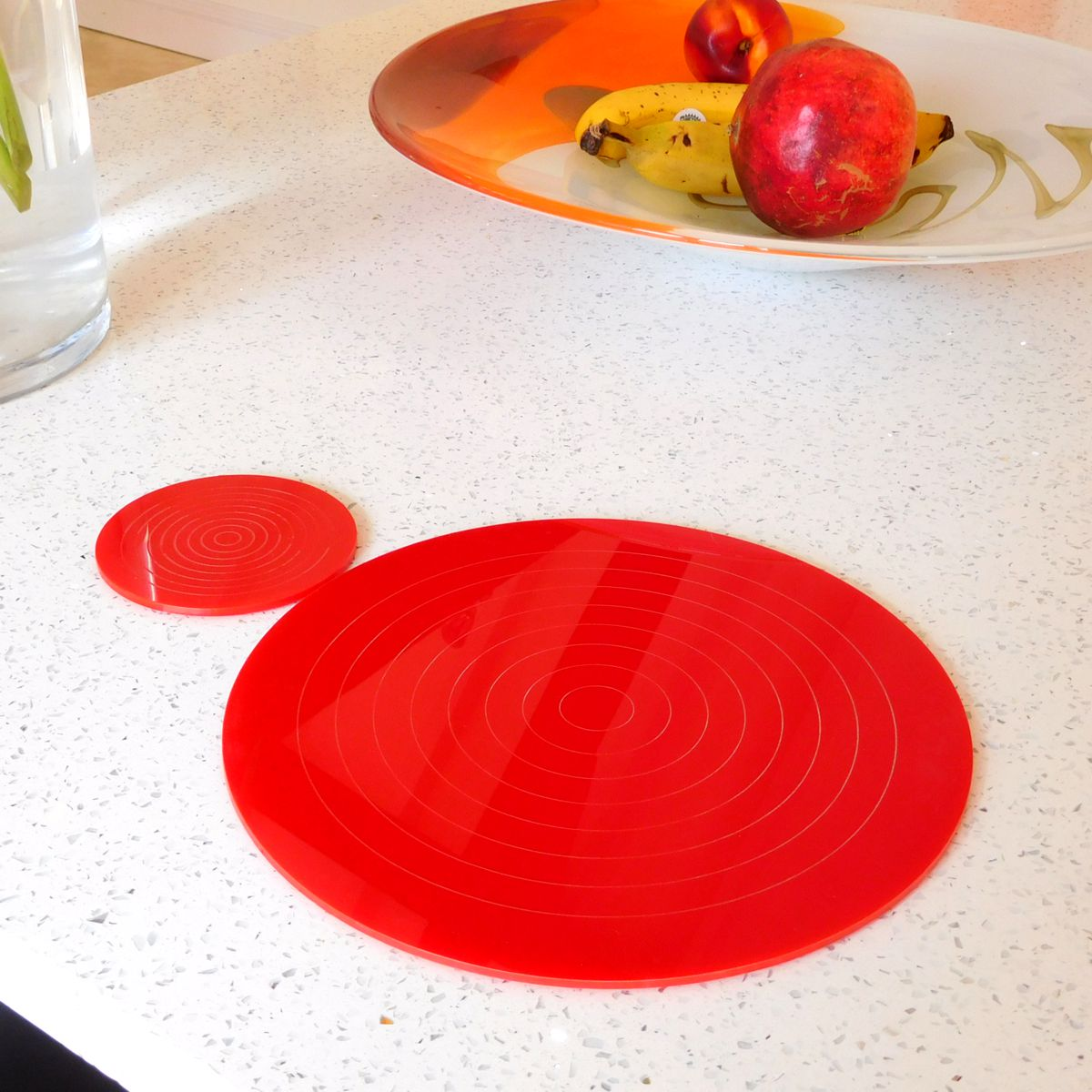 Red Gloss Circlets Coasters and Placemats 10cm Dia ROUND COASTER RED
