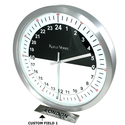 24hr Timezone Day & Night Modern Classic clock Pol 35cm Dia Polished