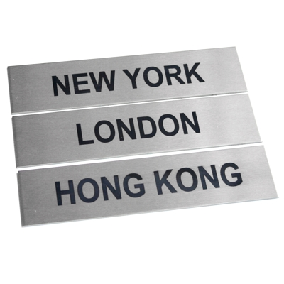 3 x Brushed Stainless Steel City Signs 17cm x 4cm