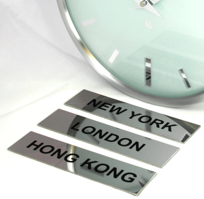 3 x Polished Stainless Steel City Signs 17cm x 4cm