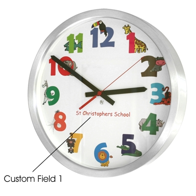 35cm Animal Numbers Modern Classic School Clock 35cm Diameter Brushed