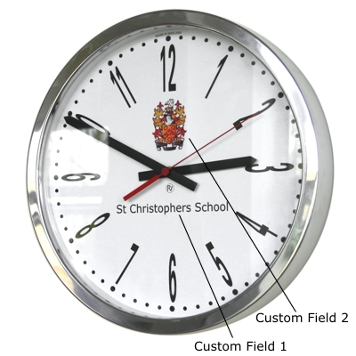 35cm Modern Numbers Modern Classic School Clock 35cm Diameter Polished