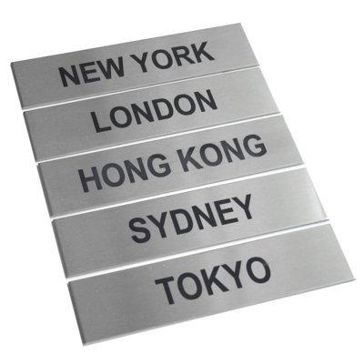 5 x Brushed Stainless Steel City Signs 17cm x 4cm