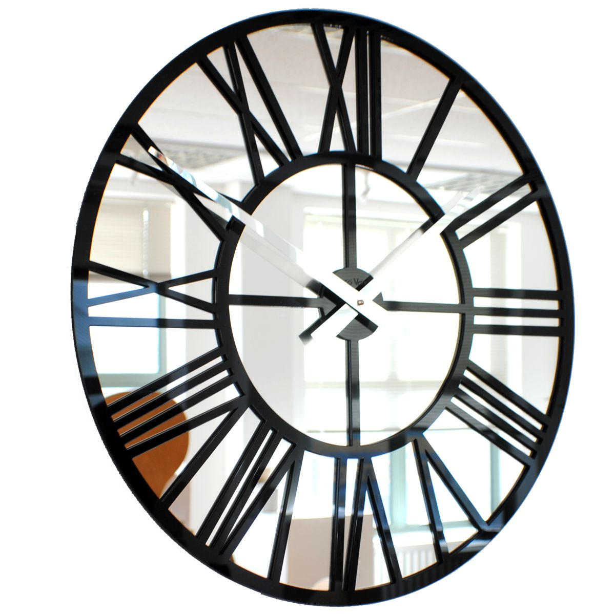 Roco Verre Acrylic Gloss Mirror Skeleton Clock  BLACK 57cm Diameter