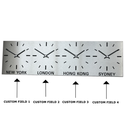Brushed Stainless Steel 4 Dial Time Zone Clock 60cm x 17cm (15cm Dial)