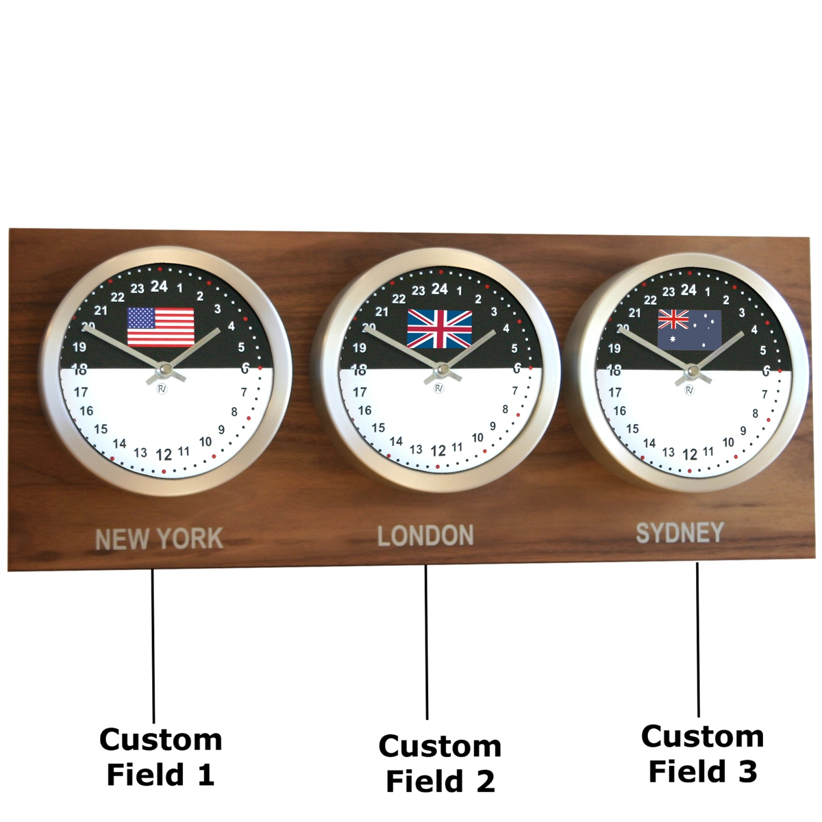 Roco Verre Custom World 3 18cm Flag Clocks Walnut H25cm x L62cm x D8cm