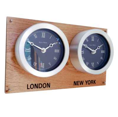 Oak Backboard Everyday Multi Time Zone Wall Clock  Dual Dial Oak H19cm x L32cm x D6cm