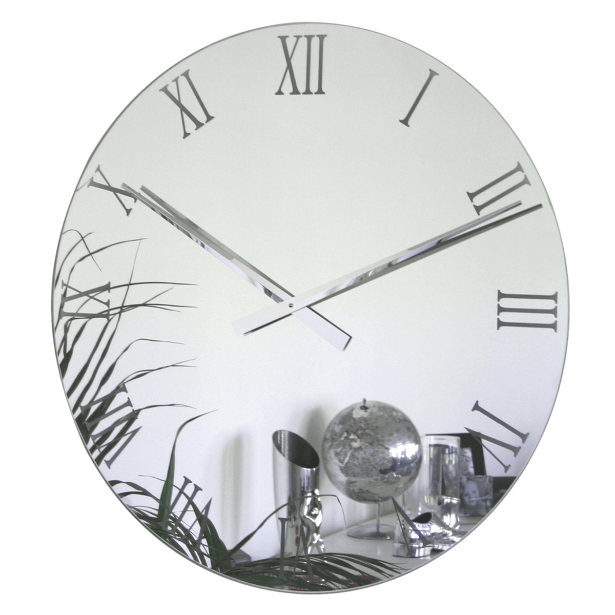 Uk Roco Verre Extra Large Roman Mirror Wall Clock