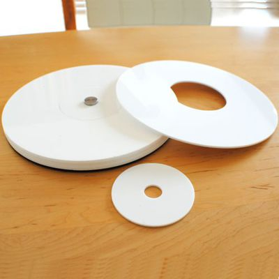 Gloss White Acrylic Polo Placemats and Coaster Set GLOSS WHITE 250mm and 90mm dia