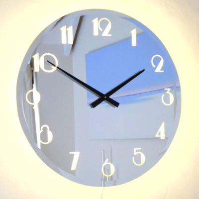 Illuminated Bevelled  Deco Mirror Wall Clock Light 65cm Dia