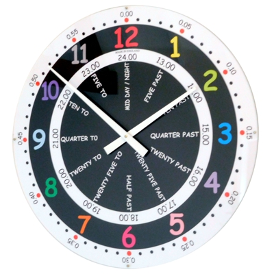 Roco Verre Large Teaching Time School Wall Clock 56cm Diameter Wall Clock