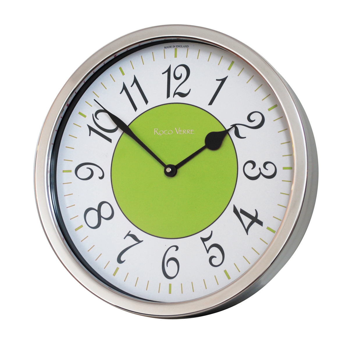 Roco Verre Modern Vintage French Clock Polished 35cm Diameter Lime