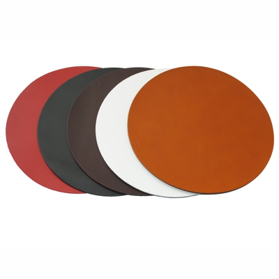 Real Leather Hide Large Round Placemats 32cm Whisky Tan 32cm diameter