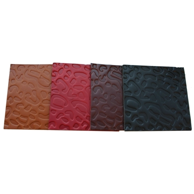 Real Leather Hide Leopard Embossed Square Coasters 10cm x 10cm Whisky Brown