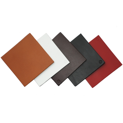 Real Leather Hide SQUARE Coasters Cherry Red 10cm x 10cm