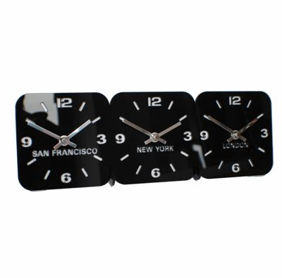 Roco Verre Acrylic Desk Table Time Zone Clock BLACK 3 DIAL  350mm x 120mm x 70mm