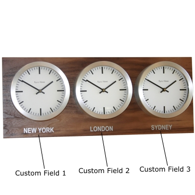 Roco Verre Custom Time Zone 3 18cm Clocks Walnut   H25cm x L62cm x D8cm White Swiss