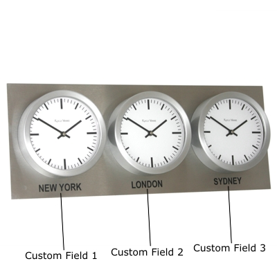 Roco Verre Custom Time Zone 3 26cm Clocks Steel H35cm x L88cm x D6cm White Swiss