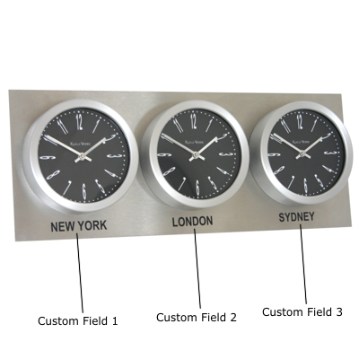 Roco Verre Custom Time Zone 3 Clocks Steel Range H25cm x L62cm x D6cm Numbers Black
