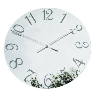 Roco Verre French Numbers Mirror Clock Frosted 34cm Diameter