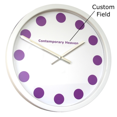 Roco Verre Purple Coloured Spots Clock 35cm Diameter White
