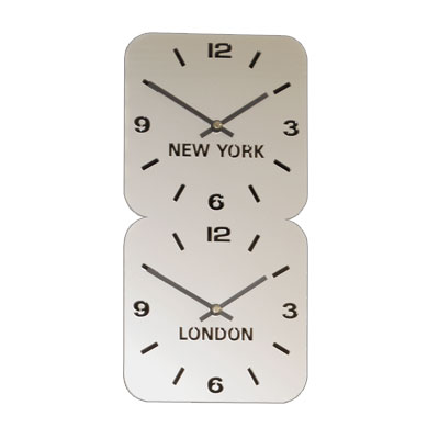 Roco Verre Silver Acrylic Time Zone Clock LARGE H49cm x W24.5cm Dual Vertical