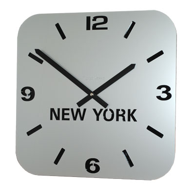 Roco Verre Silver Acrylic Time Zone Clock Single H31cm x W31cm