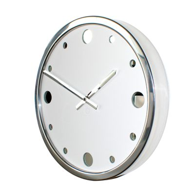 Roco Verre White Leather Empire Wall Clock 35cm Diameter WHITE