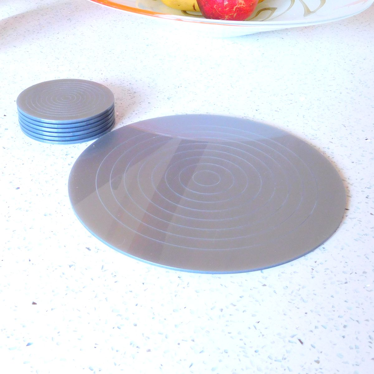 Silver Gloss Circlets Coasters and Placemats 10cm Dia ROUND COASTER SILVER
