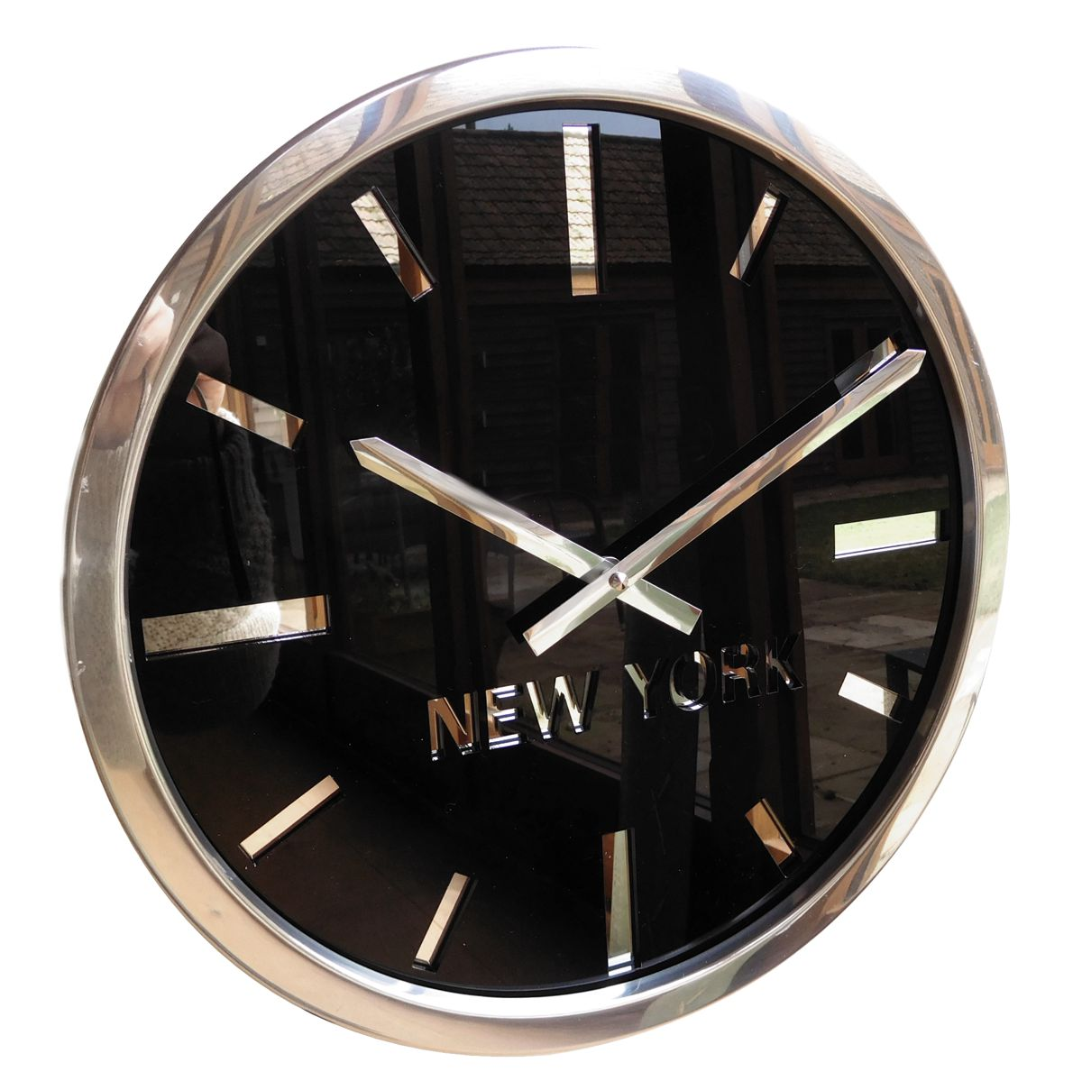 Swiss Manhattan Custom Time Zone Wall Clock Gloss Black 35cm Dia