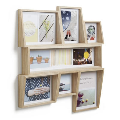 Umbra Edge Multi Photo Wall Display Natural  H54cm x W59cm x D6cm